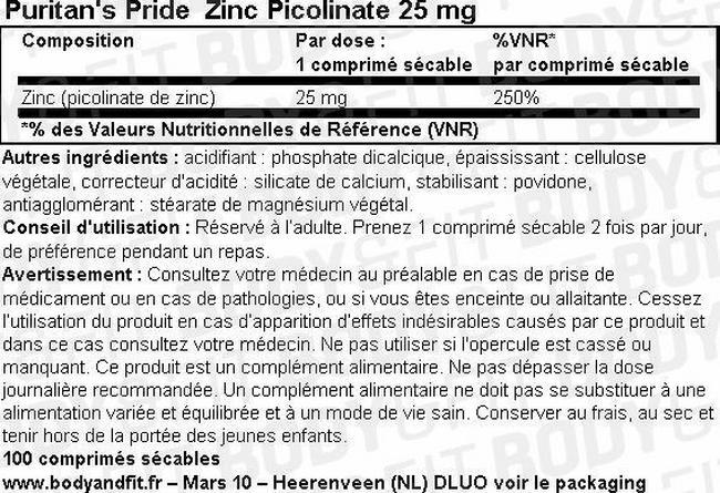 Zinc Picolinate 25mg Nutritional Information 1