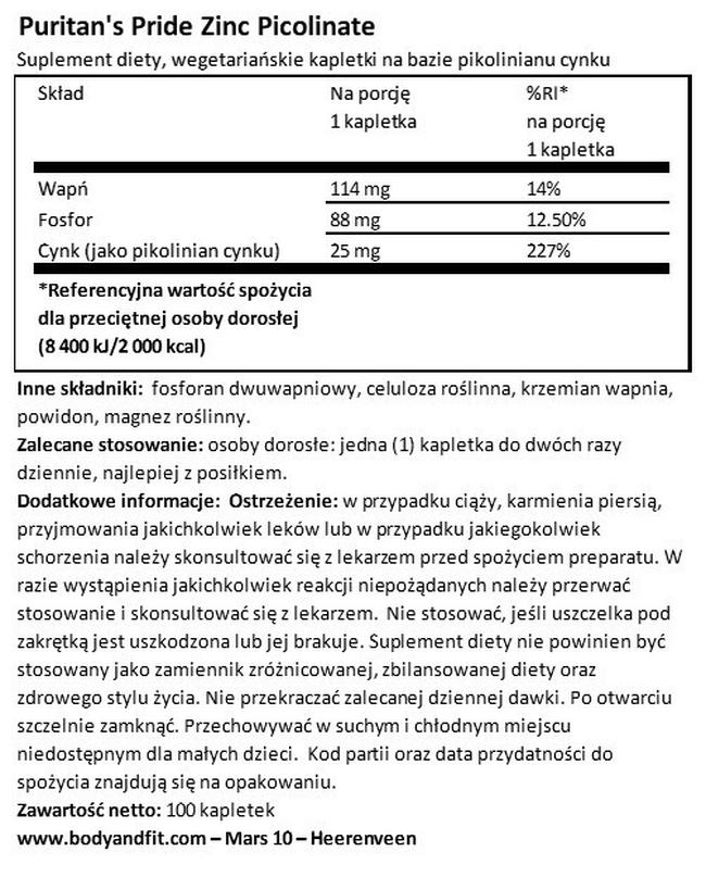 Pikolinian cynku 25 mg Nutritional Information 1