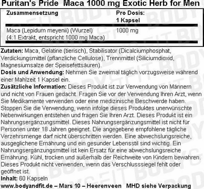 Maca 1000 mg Exotic Herb for Men Nutritional Information 1