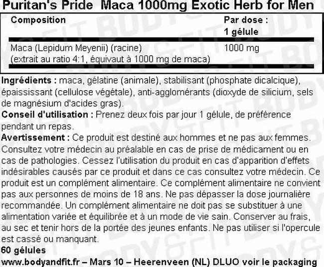 Maca 1000mg Exotic Herb for Men Nutritional Information 1