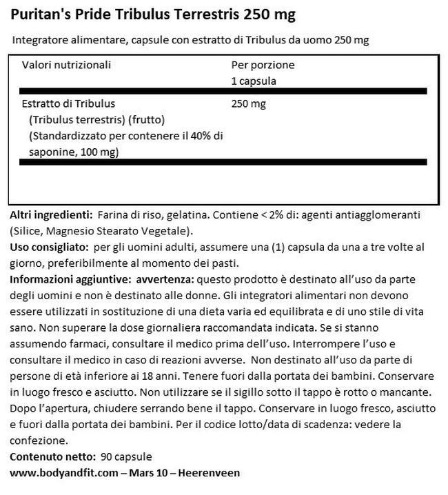 Tribulus Terrestris 250mg Nutritional Information 1