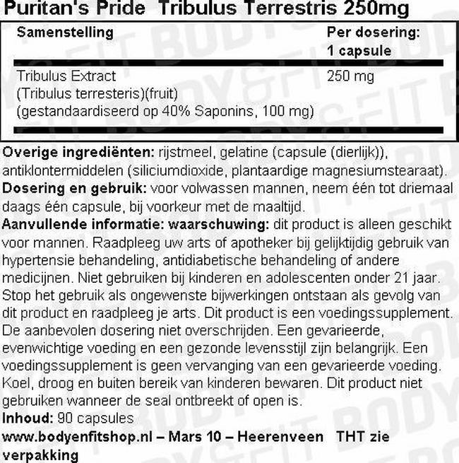 Tribulus Terrestris 250mg Nutritional Information 1