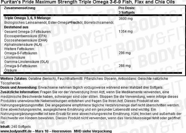 Maximum Strength Triple Omega 3-6-9 Fish, Flax & Chia Oils Nutritional Information 1