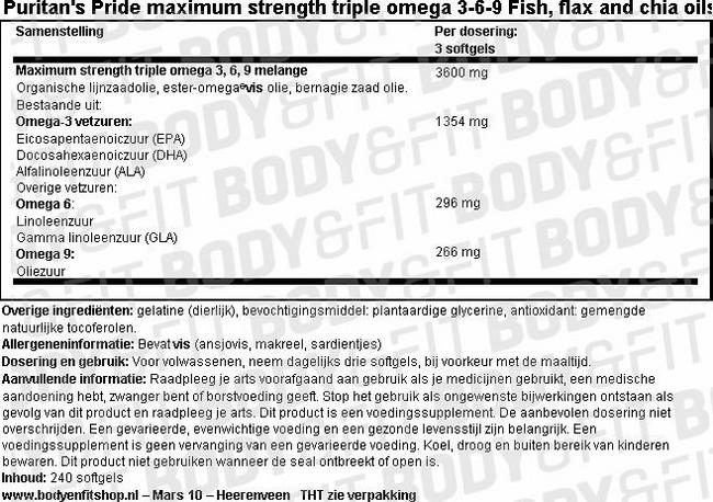 Maximum Strength Triple Omega 3-6-9 Visolie, Lijnzaadolie & Chia Nutritional Information 1