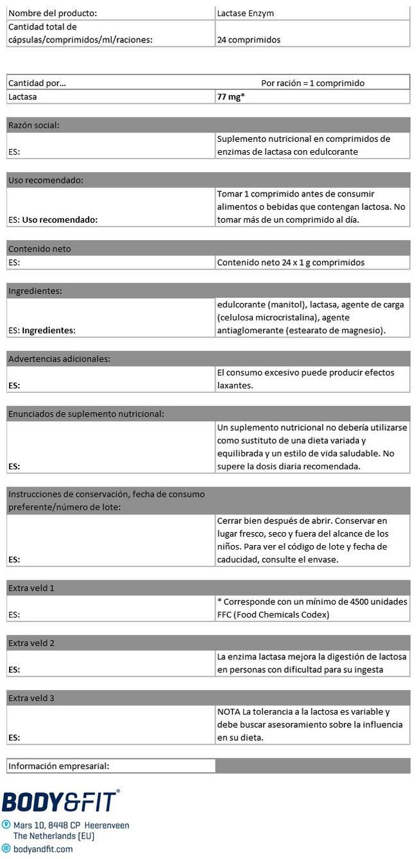 Enzima Lactasa Nutritional Information 1