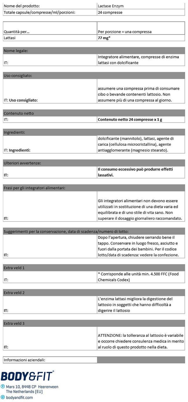 Enzimi Lactase Nutritional Information 1