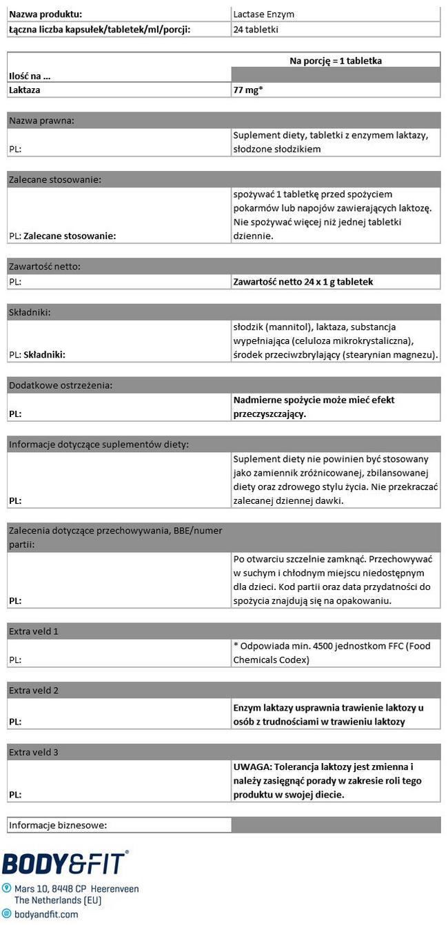 Enzym laktazy Nutritional Information 1
