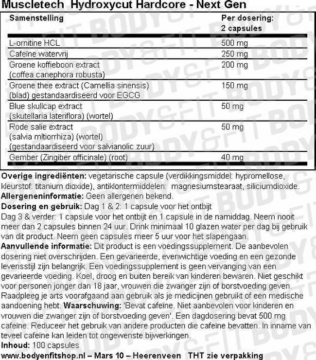 Hydroxycut Hardcore - Next Gen Nutritional Information 1