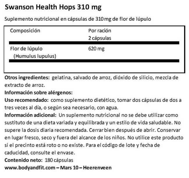 Hops Nutritional Information 1
