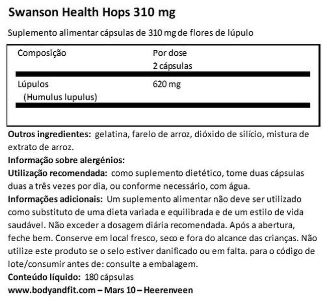 Hops Nutritional Information 1