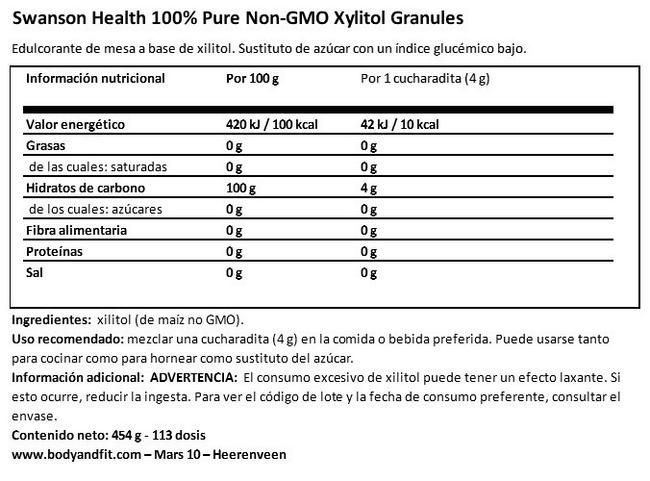 100 % Pure Xylitol Granules Nutritional Information 1