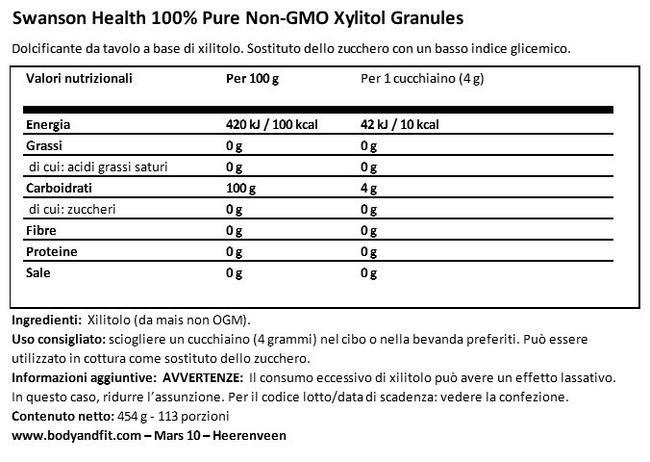 100% granuli di xillitolo puro Nutritional Information 1