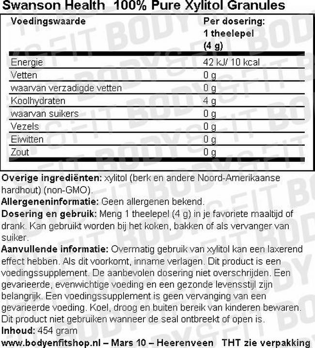 100% Pure Xylitol Granules Nutritional Information 1