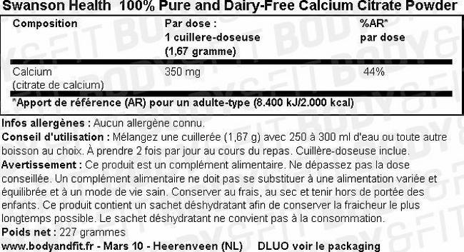100% Citrate de calcium pur et sans produits laitiers Nutritional Information 1
