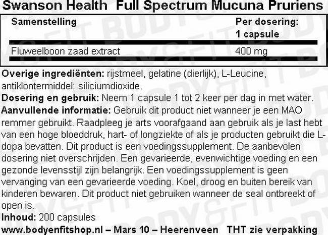 Full Spectrum Mucuna Pruriens Nutritional Information 1