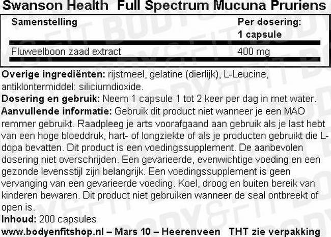 Full Spectrum Mucuna Pruriens Nutritional Information 1