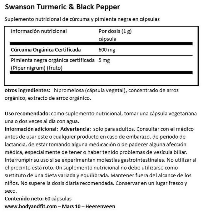 Extracto de Curcuma y Pimienta negra Nutritional Information 1