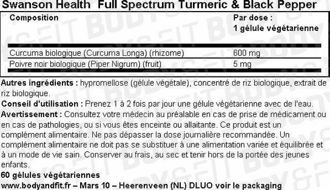 Full Spectrum Curcuma & Poivre noir Nutritional Information 2