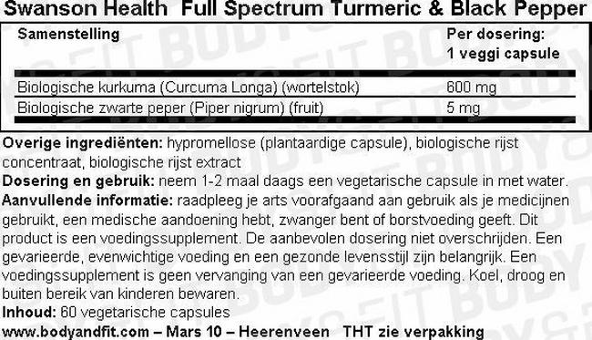 Full Spectrum Turmeric & Black Pepper Nutritional Information 1