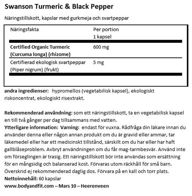 Turmeric & Black Pepper Nutritional Information 1