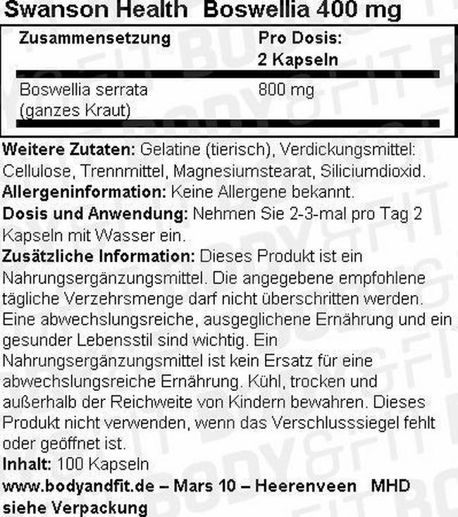 Boswellia 400 mg Nutritional Information 1