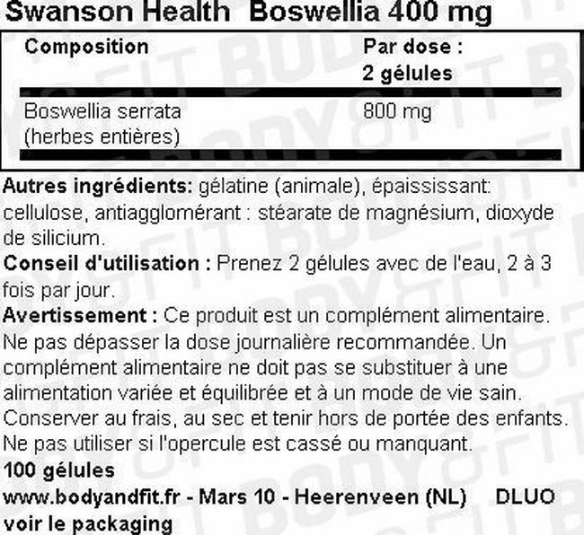 Boswellia 400mg Nutritional Information 1