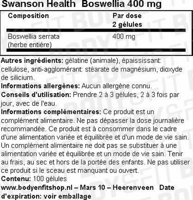 Boswellia 400mg Nutritional Information 2