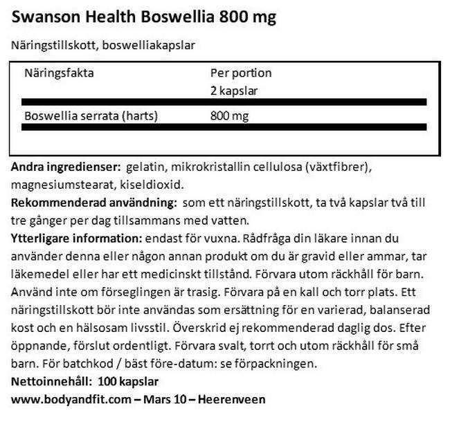 Boswellia 400mg Nutritional Information 1
