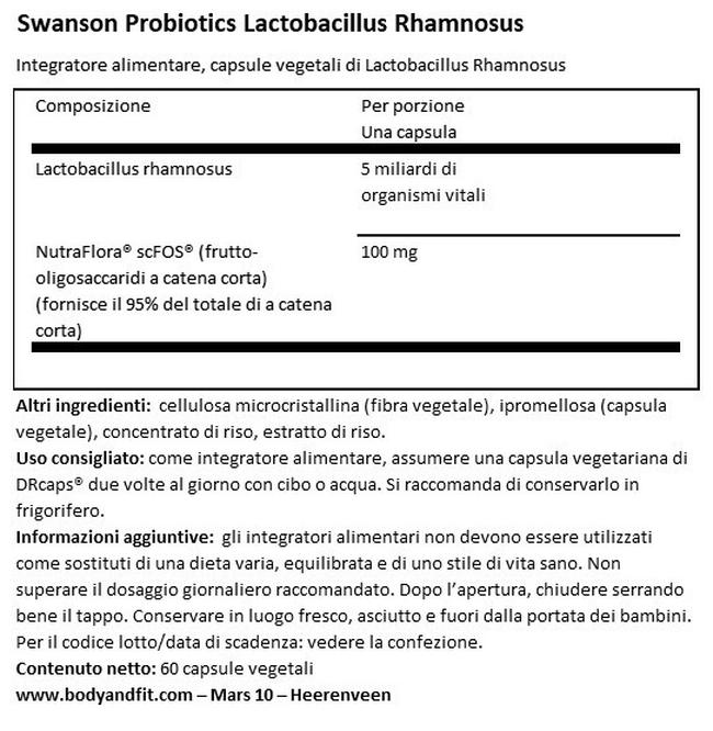 Lactobacillus Rhamnosus with FOS Nutritional Information 1