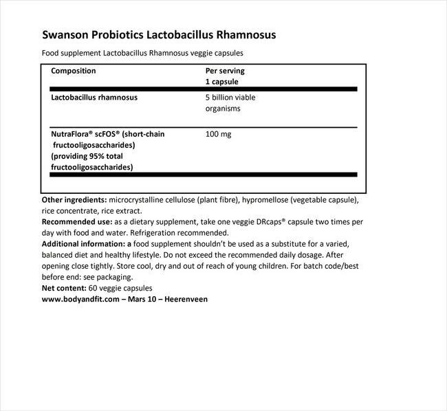 ラクトバチルス・ラムノサス with FOS Nutritional Information 1