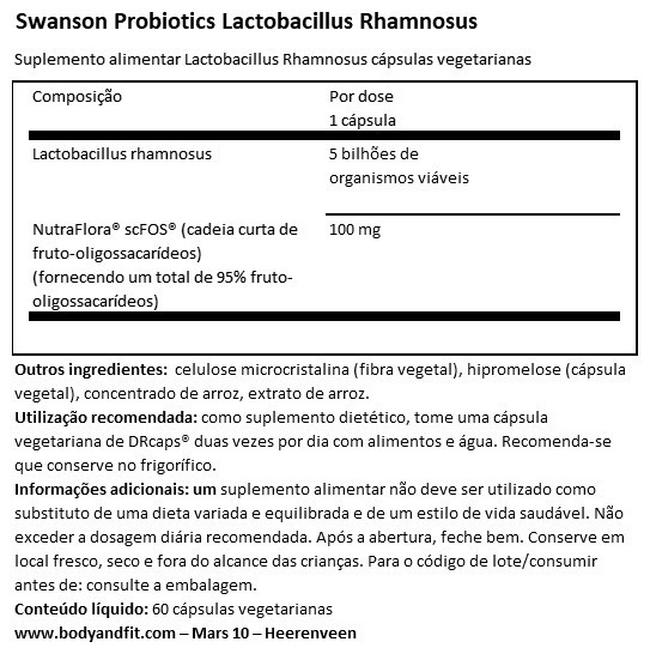 Lactobacillus Rhamnosus with FOS Nutritional Information 1