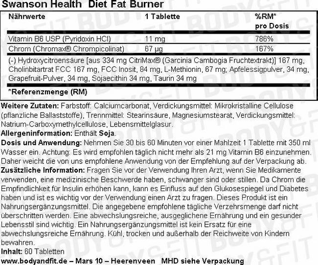 Diet Fat Burner Nutritional Information 1