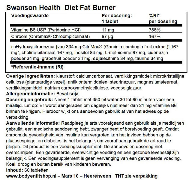 Diet Fat Burner Nutritional Information 1