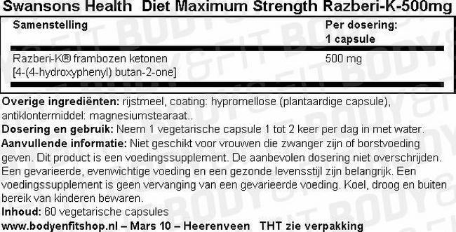 Diet Maximum Strength Razberi-K-500mg Nutritional Information 1