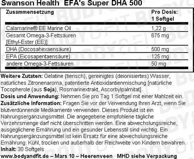 Efa Super DHA 500 from Calamari Nutritional Information 1