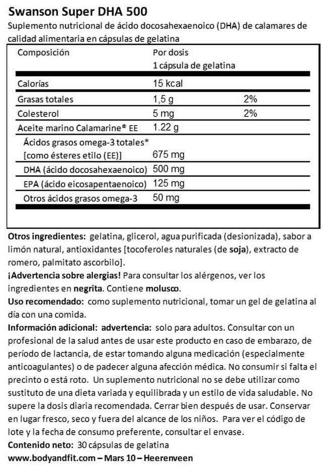 EFA Super DHA 500 from Calamari Nutritional Information 1