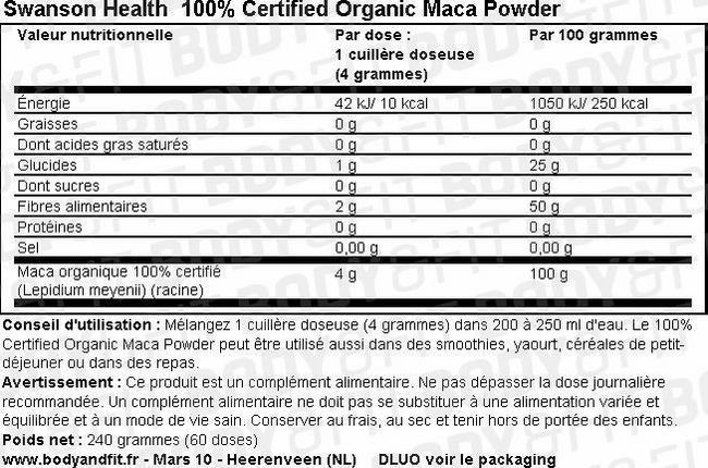 100% Certified Organic Maca Powder Nutritional Information 2