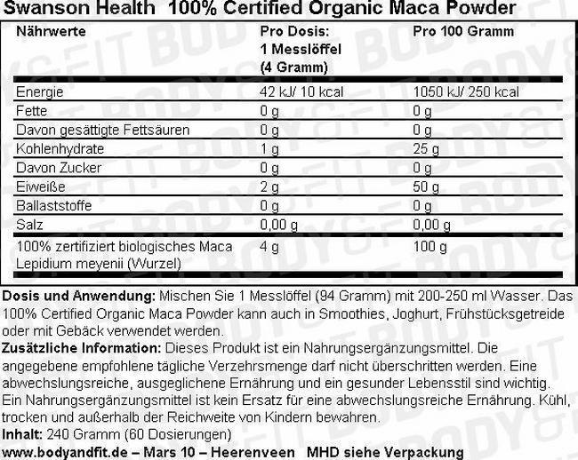 100% Certified Organic Maca Powder Nutritional Information 3