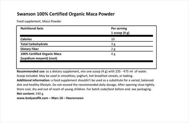 100% Certified Organic Maca Powder Nutritional Information 1