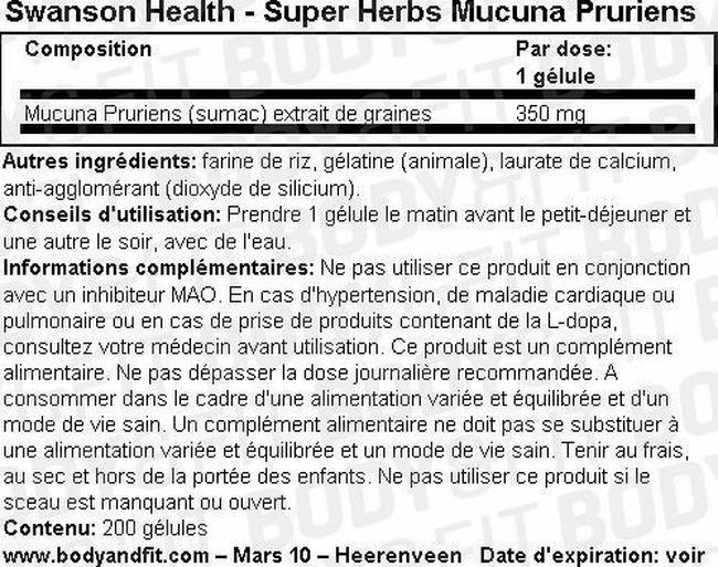 Super Herbs Mucuna Pruriens Nutritional Information 2