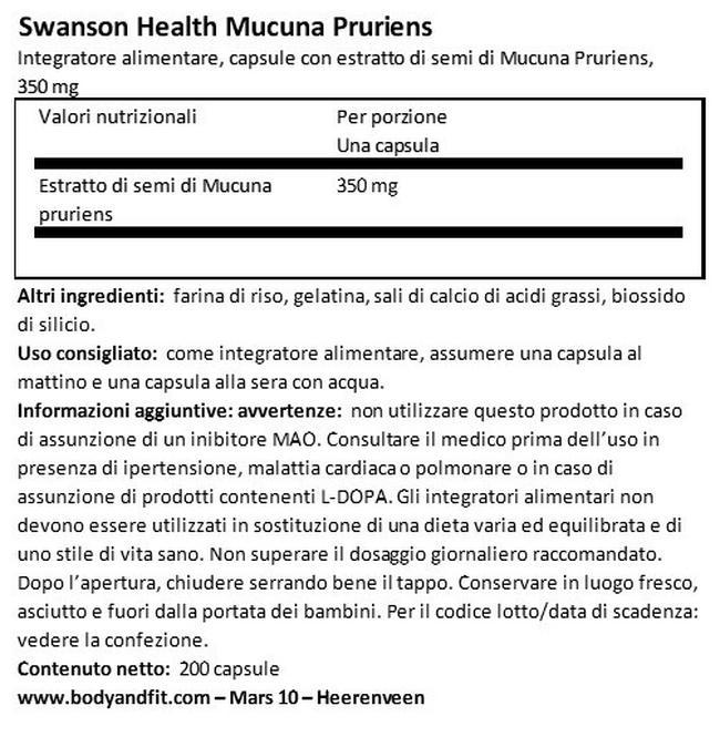 Super Herbs Estratto di Tè verde 500 mg Nutritional Information 1