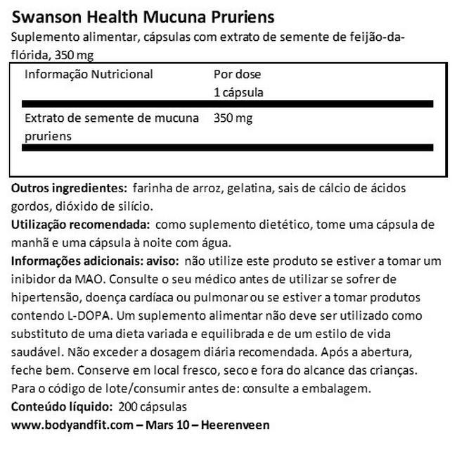 Super Herbs Mucuna Pruriens Nutritional Information 1