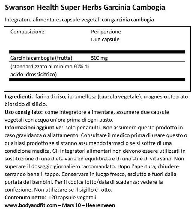 Garcinia Cambogia Nutritional Information 1