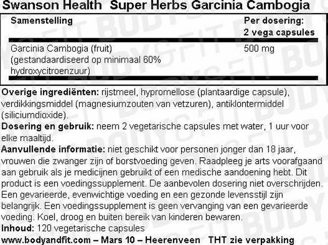 Super Herbs Garcinia Cambogia Nutritional Information 1