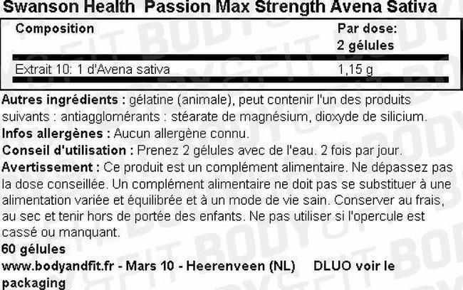 Passion Max Strength Avena Sativa Nutritional Information 1