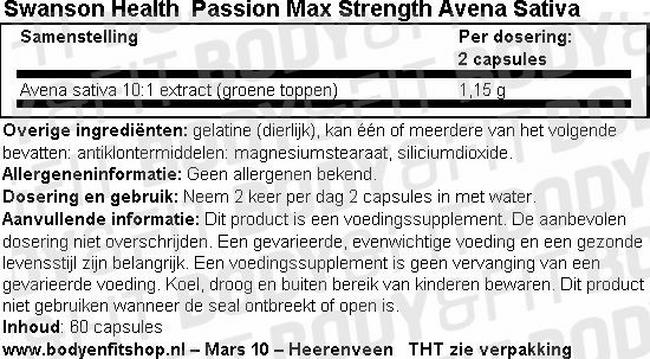 Passion Max Strength Avena Sativa Nutritional Information 1