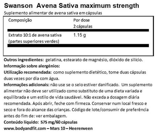 Força Max Strength Avena Sativa Nutritional Information 1