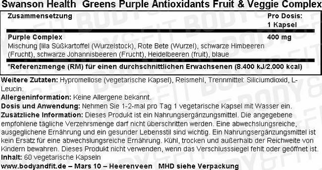 Greens Purple Antioxidants Fruit & Veggie Complex Nutritional Information 1