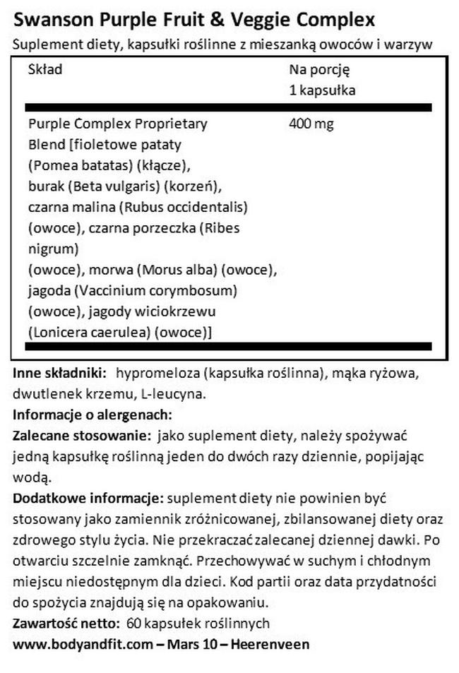 Greens Purple Antioxidants Fruit & Veggie Complex Nutritional Information 1
