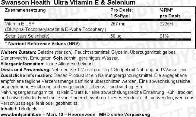 Ultra Vitamin E & Selenium Nutritional Information 1